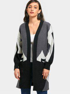 Geometric Open Front Cardigan With Pockets - Gray