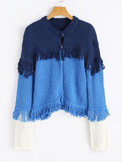 Tassels Color Block Chunky Cardigan - Bleu