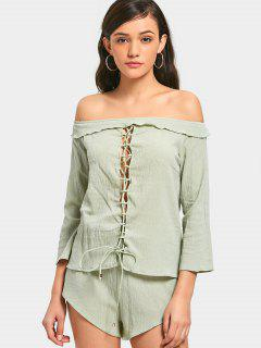 Lace Up Off Shoulder Top And High Waisted Shorts - Light Green M