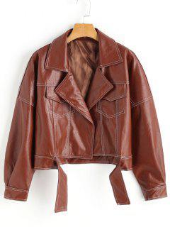 Lapel Biker Jacket - Brown M