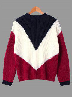 Ribbed Color Block Crew Neck Sweater - M