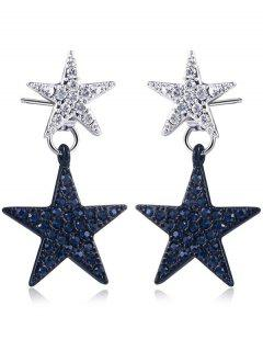 Rhinestoned Double Star Front Back Earrings - Black + Silver