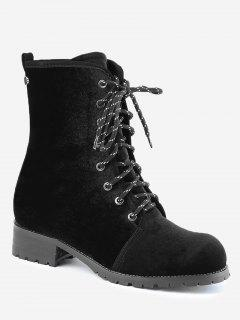 Rivets Low Heel Lace Up Boots - Black 39