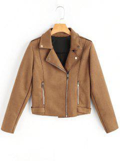 Side Zipper Lapel Faux Suede Jacket - Camel S