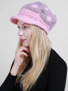 Rhombus Plaid Beaded Newsboy Hat - Pink