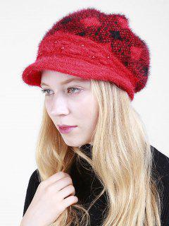 Rhombus Plaid Beaded Newsboy Hat - Bright Red