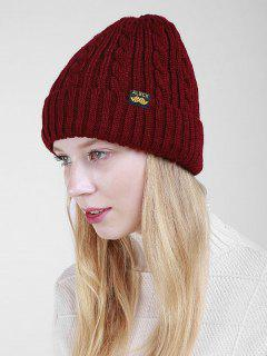 Label Pattern Thicken Flanging Knited Beanie - Dark Red