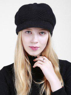 Wave Knitted Newsboy Hat - Black