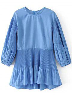 Back Zip Pleated Panel Blouse - Blue S