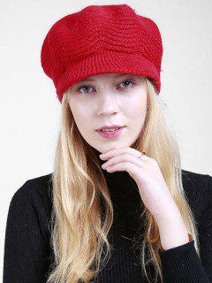 Wave Knitted Newsboy Hat - Bright Red
