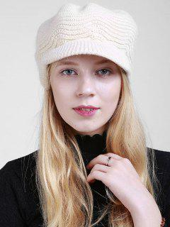 Wave Knitted Newsboy Hat - Off-white