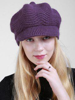 Wave Knitted Newsboy Hat - Deep Purple