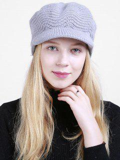 Wave Knitted Newsboy Hat - Light Gray