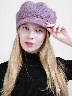 Wave Knitted Newsboy Hat - Light Purple