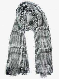 Houndstooth Plaid Fringed Long Scarf - Black White