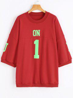 Puff Sleeve Graphic Übergroßes Sweatshirt - Rot