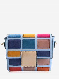 Plaid Contrasting Color Crossbody Bag - Blue