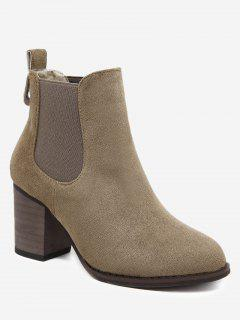 Elastic Band Chunky Heel Ankle Boots - Brown 36