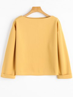 Slash Neck Drop Shoulder Sweatshirt - Curcumae S