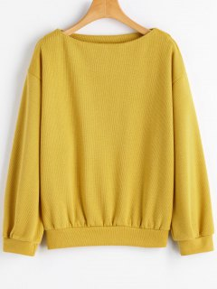 Sweat-shirt Simple à Col Bateau Et Épaules Tombantes - Moutarde  M