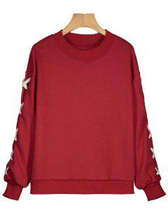 Drop Shoulder Criss Cross Sweatshirt - Red L