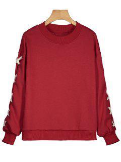 Drop Shoulder Criss Cross Sweatshirt - Rot S
