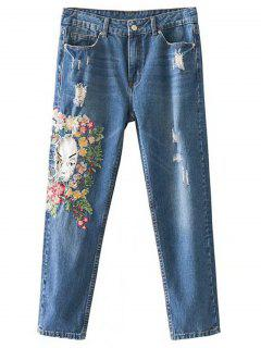 Patches Floral Embroidered Destroyed Tapered Jeans - Denim Blue L