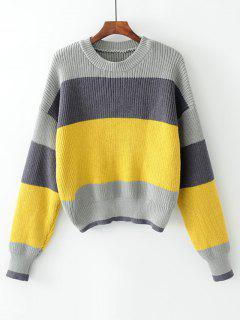Contrasting Stripes Pullover Sweater - Gray