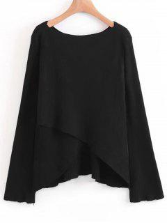 Layered Asymmetrical Pullover Sweater - Black