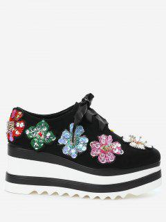 Square Toe Flowers Wedge Shoes - Black 39