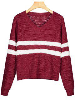 V Neck Striped Pullover Sweater - Deep Red
