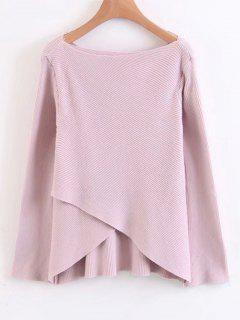 Layered Asymmetrical Pullover Sweater - Pinkish Purple