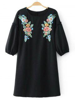 Casual Floral Embroidered Tee Mini Dress - Black M