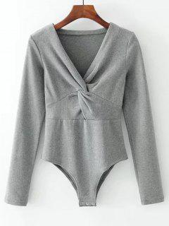 Long Sleeve Skinny Twist Bodysuit - Gray