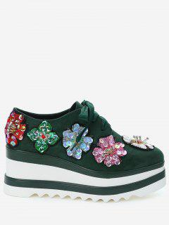 Square Toe Flowers Wedge Shoes - Army Green 34