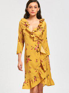 Floral Ruffles Wrap Midi Dress - Yellow M