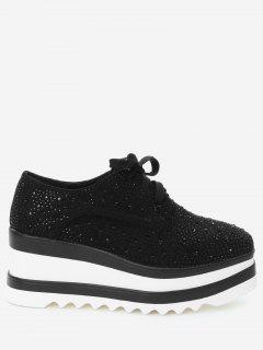 Rhinestone Square Toe Wedge Shoes - Black 38