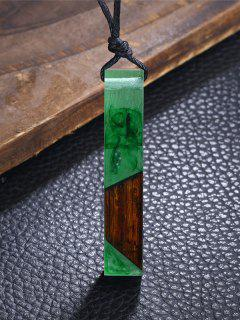 Resin Wood Geometric Pendant Necklace - Green