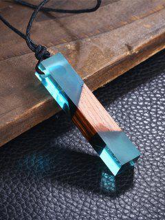 Collar Geométrico Del Colgante De La Madera De La Resina - Azul