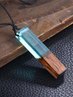 Wooden Resin Geometric Collarbone Necklace - Blue