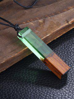 Collar Geométrico De La Cola De La Resina De Madera - Verde