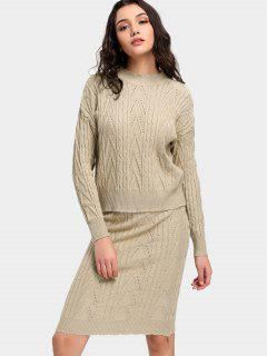 Mock Neck Cable Knit Sweater And Skirt - Apricot