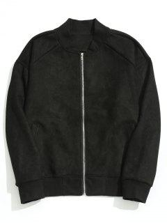 Zippered Suede Jacket - Black 2xl