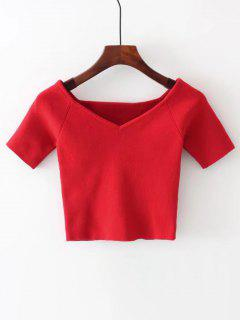 Cropped Knitted Off Shoulder Top - Red