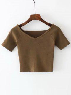 Cropped Knitted Off Shoulder Top - Brown