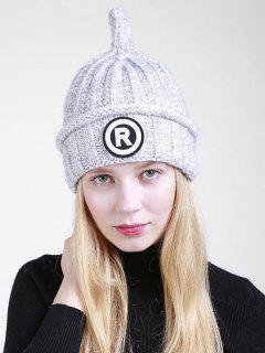Letter R Pattern Crochet Pointy Beanie - Light Gray