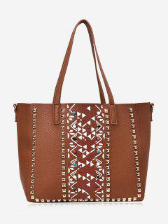 Geometric Studs 3 Pieces Tote Bag Set - Brown