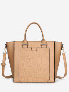 PU Leather Embossing Handbag - Khaki