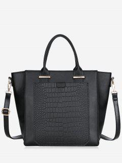PU Leather Embossing Handbag - Black