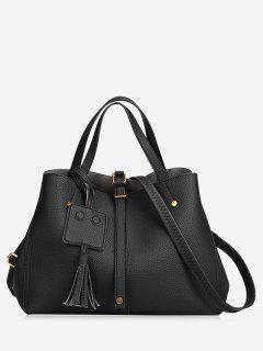 Buckle Strap Studs Tassel Handbag - Black
